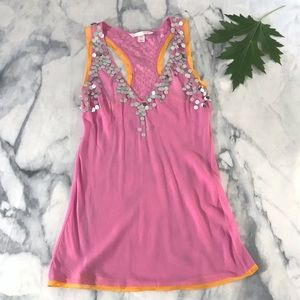 VS Embellished Silk Sequin Babydoll Slip Tunic